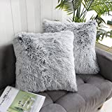 Uhomy 2 Packs Home Decorative Luxury Series Super Soft Faux Fur Throw Pillow Cover Cushion Case for Sofa or Bed Gray Ombre 18