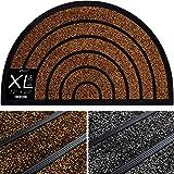 Extra Durable Half Round Door Mat Outdoor/Indoor - Rubber Doormat - Non-Slip Waterproof Entry Door Mat (32 x 20) Front/Back D