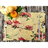 Tache Floral Red Roses Birds Golden Woven Placemat - Vintage Tapestry Kitchen Dining Dinner Mat Table Linens Place Mat - Set