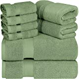 Utopia Towels Luxurious 700 GSM Thick 8 Piece Towel Set Sage Green; 2 Bath Towels, 2 Hand Towels and 4 Washcloths - 100% Ring