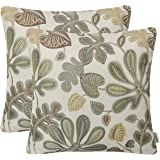 Mika Home Set of 2 Jacquard Tropical Leaf Pattern Throw Pillow Covers Decorative Pillowcase 20X20 Inches,Green Cream