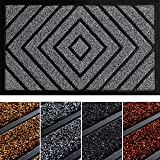 Extra Durable Front Door Mat Diamond Gray - Rug Entry Door Mat - Non-Slip Waterproof Thin Doormat Outdoor Doormat Indoor (30
