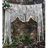 "RISEON Large 70"" W x 78"" L Macrame Wedding Backdrop, Macrame Wedding Arch Arbor, Macrame Wall Hanging,Macrame Door Hanging,Ro"