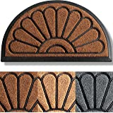 Extra Durable Half Round Door Mat Outdoor/Indoor - Rubber Doormat - Non-Slip Waterproof Entry Door Mat (30 x 18) Front/Back D