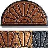 Extra Durable Half Round Door Mat Outdoor/Indoor - Rubber Doormat - Non-Slip Waterproof Entry Door Mat (30 x 18) Front/Back D