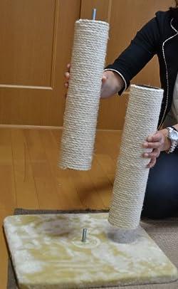 麻縄柱の一部がすり減っても上下入れ替え可能