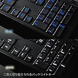 ブルー・ホワイトの2色のLED色を選択できるバックライト付き