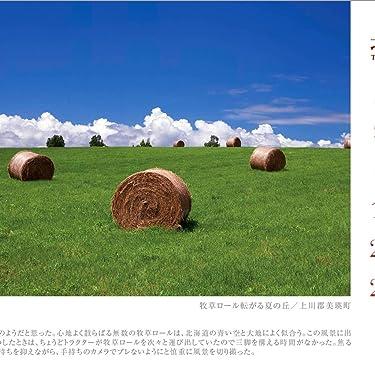 北海道 iPad壁紙 or ランドスケープ用スマホ壁紙(1:1)-1 - 牧草ロール転がる夏の丘