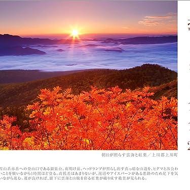 北海道 iPad壁紙 or ランドスケープ用スマホ壁紙(1:1)-1 - 朝日が照らす雲海と紅葉