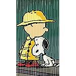 スヌーピー iPhoneSE/5s/5c/5(640×1136)壁紙 雨のバス停でチャーリー・ブラウンと寄り添う