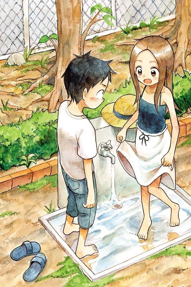 公園の水道で高木さんが水遊びをしている所を見ている西片くんのからかい上手の高木さんの壁紙