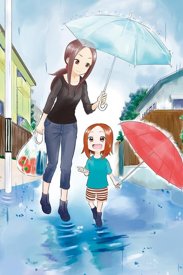 傘をさしている10数年後の高木さんと高木さんの娘のからかい上手の高木さんの壁紙