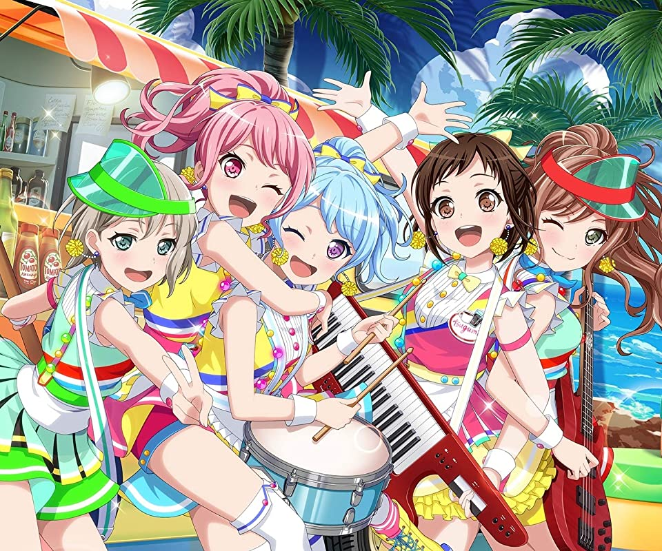 BanG Dream! 彩×モカ×リサ×花音×つぐみ Android(960×800)待ち受け画像